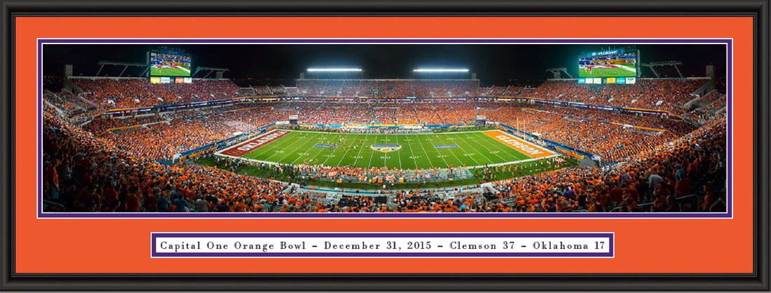 Clemson 2015 Sun Life Orange Bowl Framed Picture double matted and black frame