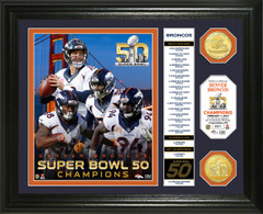 Denver Broncos Super Bowl 50 Champions Banner Bronze Coin Photo Mint