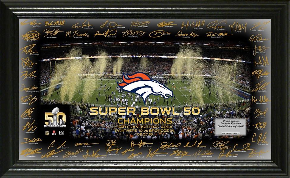Denver Broncos Super Bowl 50 Signature Framed Picture