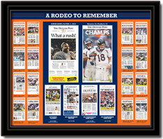 Denver Broncos Rodeo to Remember Headlines Framed Print