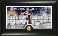 Peyton Manning Career Timeline Panoramic Bronze Coin Photo Mint