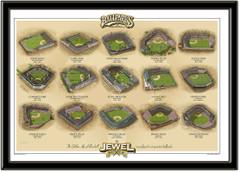 Vintage Baseball Jewel Boxes Ballparks Framed Print Horizontal