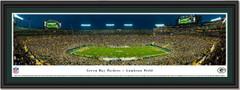 Green Bay Packers Lambeau Field Night Game Framed Panoramic Print