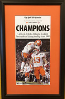 "Clemson 2017 CFP ""Champions"" Headlines Framed Print"