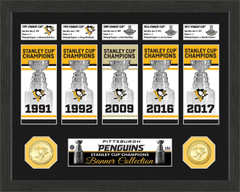 Pittsburgh Penguins Stanley Cup Banner and Bronze Coin Collection