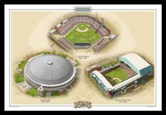 Houston Historic Ballparks of Baseball Framed Print