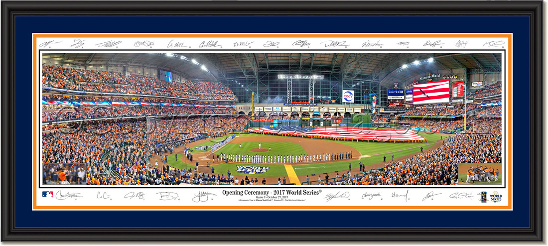 2017 World Series Game Three Opening Ceremony Houston Astros Signature Edition Double Matting and Black Frame