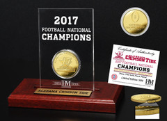 Alabama Crimson Tide 2017 Football National Champions Gold Coin Etched Acrylic