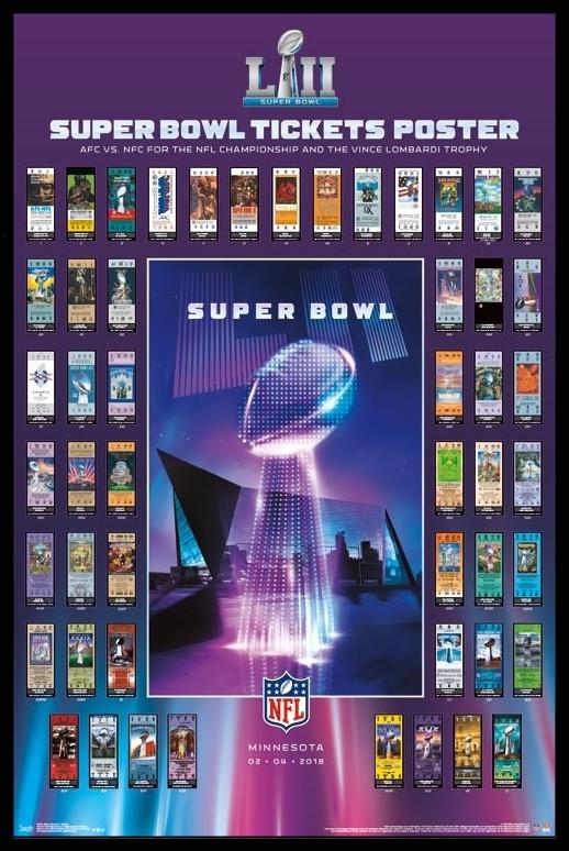 Nfl 2018 Super Bowl Tickets Framed Poster