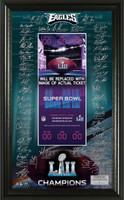 Philadelphia Eagles Super Bowl 52 Champions Signature Ticket Frame