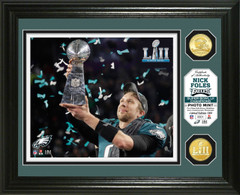 Nick Foles Super Bowl 52 Champion Trophy Bronze Coin Photo Mint
