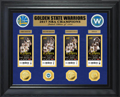 Golden State Warriors 2017 NBA Finals Champions Deluxe Gold Coin & Ticket Collection