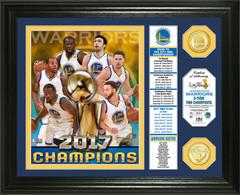 """Golden State Warriors 2017 NBA Finals Champions """"Banner"""" Bronze Coin Photo Mint"""