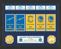 Golden State Warriors 5-Time NBA Finals Champions Banner Collection
