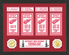 Detroit Redwings Stanley Cup Banner Collection Photo Mint