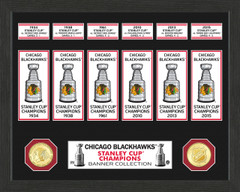 Chicago Blackhawks Stanley Cup Banner Collection Photo Mint