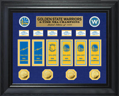 Golden State Warriors 6-Time NBA Champions Deluxe Gold Coin & Banner Collection