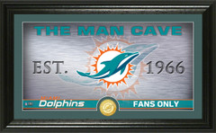 "Miami Dolphins ""Man Cave"" Panoramic Bronze Coin Photo Mint"