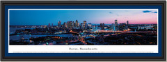 Boston, Massachusetts City Skyline At Twilight Framed Panoramic Picture