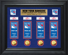 New York Rangers 4-Time Stanley Cup Champions Deluxe Gold Coin & Banner Collection