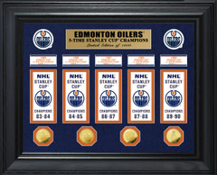 Edmonton Oilers 5-Time Stanley Cup Champions Deluxe Gold Coin & Banner Collection