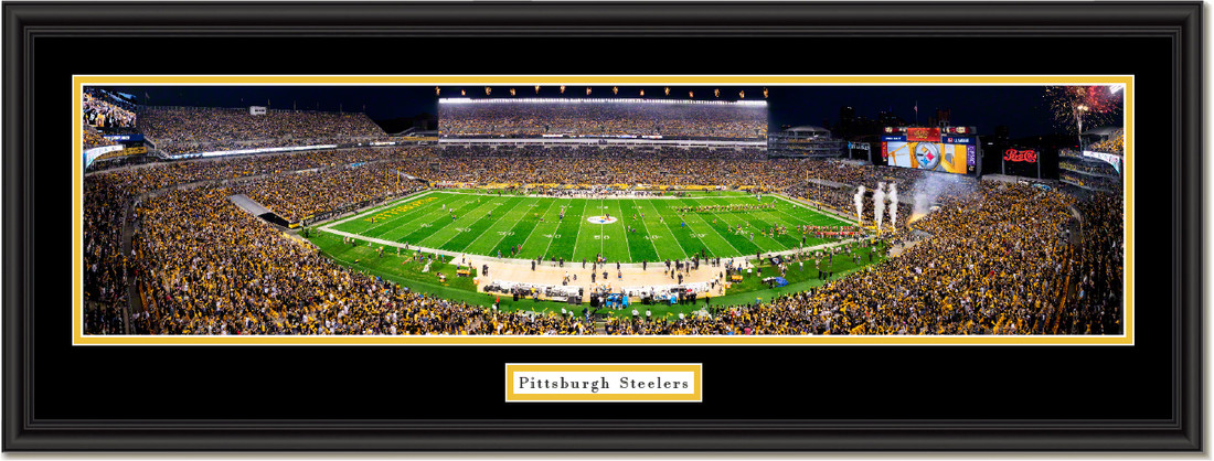 Pittsburgh Steelers Heinz Field Framed Night Game Picture Double Matting and Black Frame