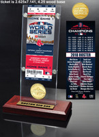 Boston Red Sox 2018 World Series Champions Ticket & Bronze Coin Acrylic Desk Top