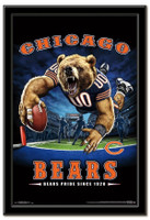 Chicago Bears Team Mascot End Zone Framed Poster