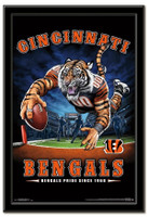Cincinnati Bengals Team Mascot End Zone Framed Poster