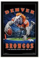 Denver Broncos Team Mascot End Zone Framed Poster
