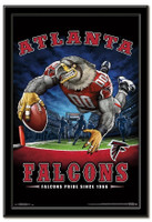 Atlanta Falcons Team Mascot End Zone Framed Poster