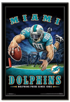 Miami Dolphins Team Mascot End Zone Framed Poster