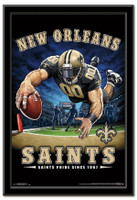 New Orleans Saints Team Mascot End Zone Framed Poster