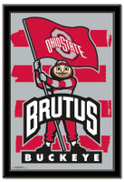 Ohio State Brutus With Flag Framed Print