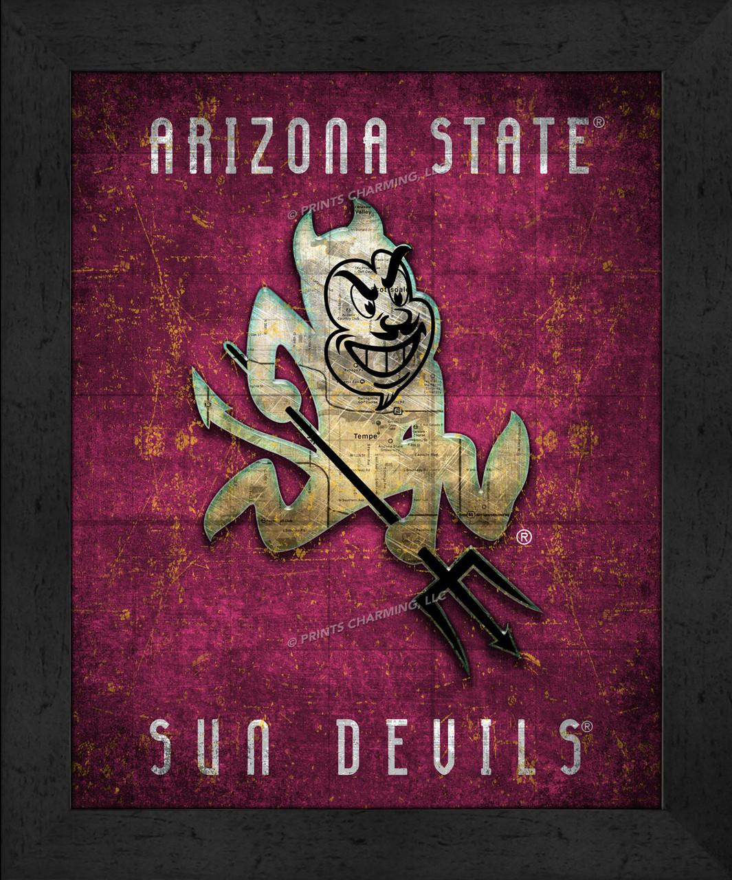 Show Me The Map Of Arizona.Arizona State Retro Logo Map