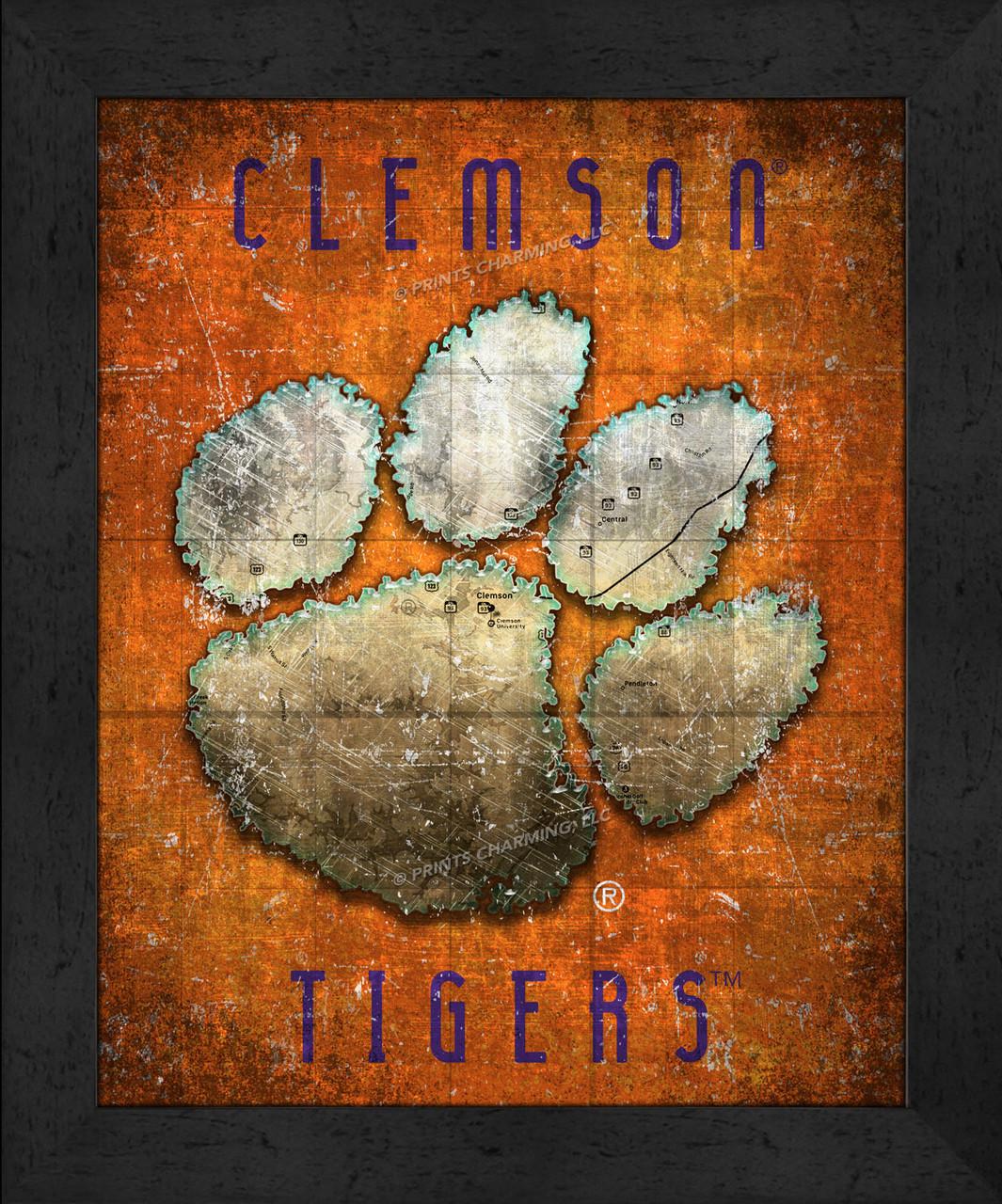Clemson Retro Logo Map