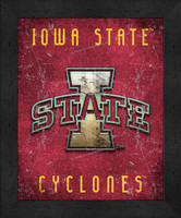 Iowa State Retro Logo Map