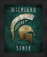 Michigan State Retro Logo Map