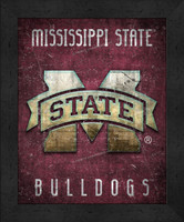Mississippi State Retro Logo Map