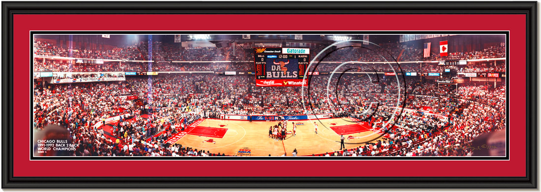 Chicago Bulls 1992 NBA Finals Framed Panoramic Print