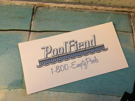 PoolFiend Pool Service 1-800-EmptyPools Vinyl sticker  size 2x4.