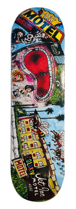 Homage graphic to The Jet Inn Motel Pool in Los Angeles, CA. A.K.A The Bee Hive Pool.  Deck size is 8.6 inches wide by 32.5 inches long with a 14.5 inches wheel base.