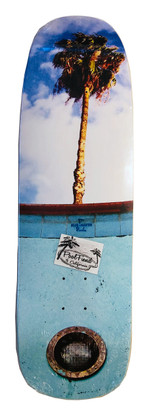 Blue Haven Pools homage deck by PoolFiend Skateboard Supplies  Size 9.4 inches wide by 32.5 inches long with a 14.75 inches wheel base.