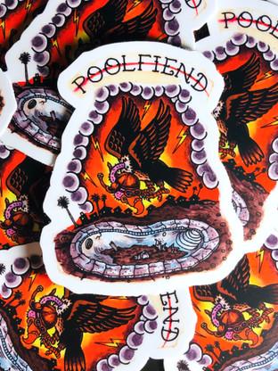 "PoolFiend Vulture Eye Die cut sticker   Size: 2.41"" x 3"""