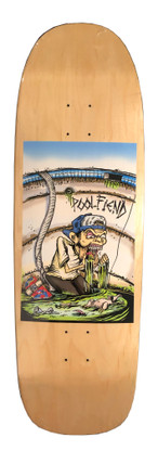 "PoolFiend ""The Fiend"" Deck  Size  9.8 wide          32.5 long         14.75 wheel base  Mellow concave"