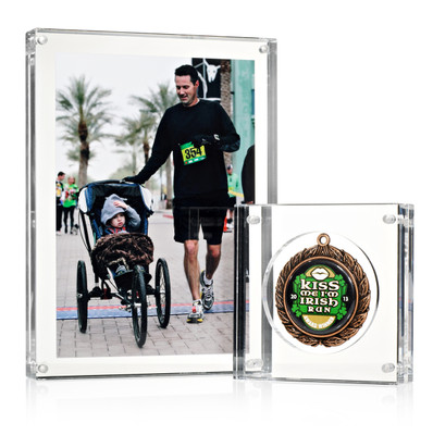 "Picture frame with Small (4"") Medal Block medal display"