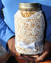 Decorated Quart Mason Jar with Monarch Butterfly Popcorn