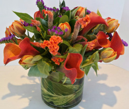 Modern Textured Cylinder - Flower Arrangements Northbrook IL - Jan Channon Flowers