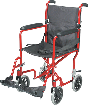 Transport Chair with Swing Away Foot Rest, Aluminum, Burgundy EA 1