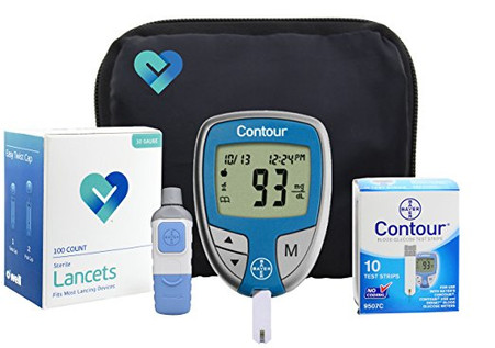 OWell Bayer Contour Complete Diabetes Blood Glucose Testing Kit, METER, 10 Test Strips, 10 Lancets, Lancing Device, Manual, Log Book & Carry Case (BCKIT2)
